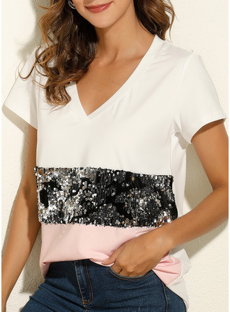 Patchwork Sequins V-Neck Short Sleeves Casual T-shirt