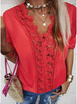 Lace Solid V-Neck 3/4 Sleeves Casual Elegant Blouses