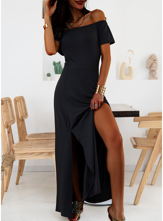 Solid A-line Short Sleeves Maxi Little Black Casual Vacation Skater Dresses