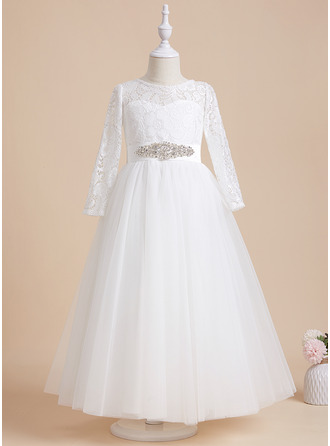 A-Line Scoop Neck Ankle-length With Beading Satin/Tulle/Lace Flower Girl Dress