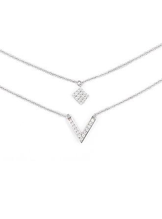 Silber Zirkonia Mehrere Charm Halskette Für Frauen Für die Freundin