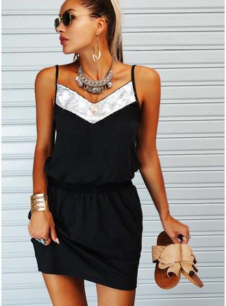 Цветной блок ножны безрукавный Мини Повседневная Тип Модные платья