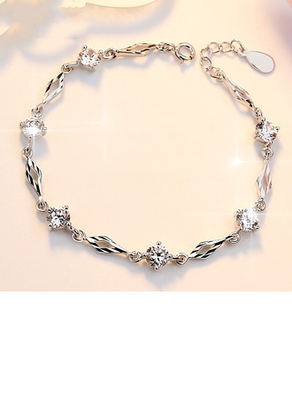 Ladies' Fancy 925 Sterling Silver With Diamond Cubic Zirconia Bracelets For Bride/For Bridesmaid