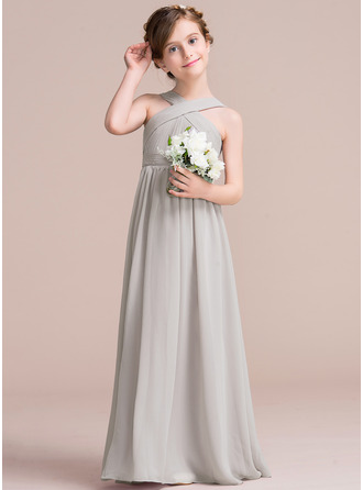 A-Line/Princess Floor-length Flower Girl Dress - Chiffon Sleeveless V-neck With Ruffles/Bow(s)