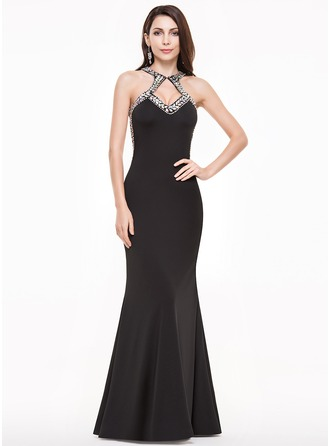 Sheath/Column Scoop Neck Floor-Length Jersey Prom Dress With Beading