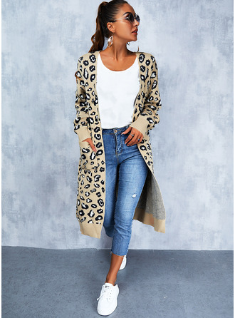 V-Neck Casual Leopard Sweaters