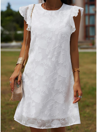 Lace Solid Shift Cap Sleeve Mini Casual Vacation Tunic Dresses