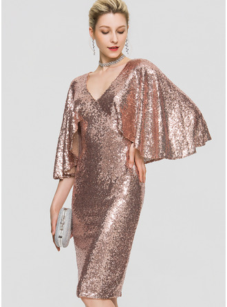 Sheath/Column V-neck Knee-Length Sequined Cocktail Dress