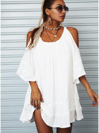 Solid Shiftklänningar 1/2 ärmar Kall axel Mini Den lilla svarta Fritids Elegant Tunika Modeklänningar