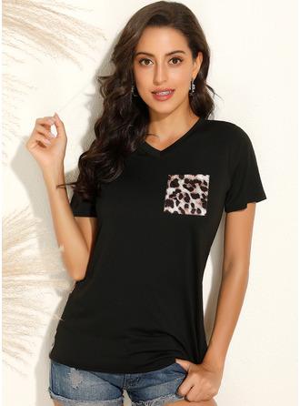 Print Patchwork Leopard Short Sleeves Polyester V Neck T-shirt Blouses