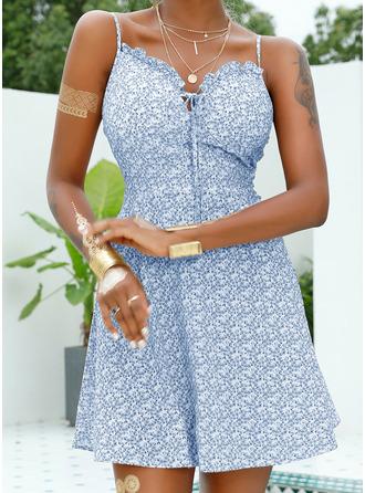 Цветочный Распечатать A-линии безрукавный Мини сексуальный отпуск Тип Модные платья