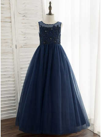 Ball-Gown/Princess Floor-length Flower Girl Dress - Tulle/Lace Sleeveless Scoop Neck With Beading/Sequins
