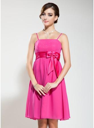 Empire Knee-Length Chiffon Bridesmaid Dress With Beading Bow(s)