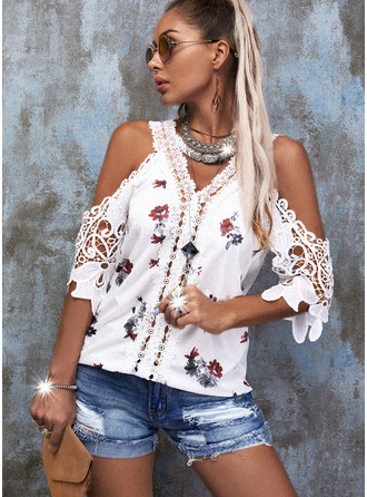 Floral Lace Print Cold Shoulder 1/2 Sleeves Casual Blouses