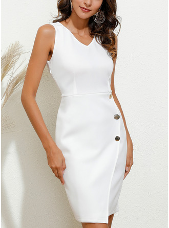 Solid Bodycon Sleeveless Midi Party Pencil Dresses