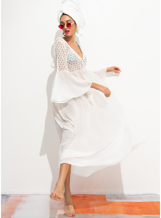 Cover-ups Polyester Chiffon Solid Color Women's No Swimwear