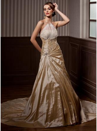 A-Line/Princess Halter Chapel Train Taffeta Wedding Dress With Ruffle Beading