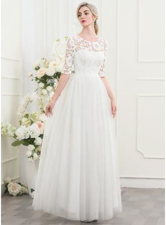 Corte A/Princesa Escote redondo Hasta el suelo Tul Vestido de novia