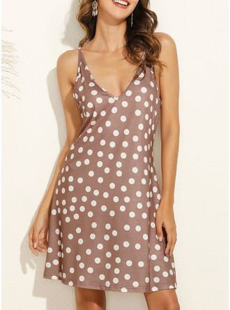 PolkaDot Shift Sleeveless Mini Casual Vacation Type Dresses