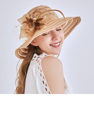 Ladies' シンプル/ファンシー 網糸 とともに 花 ビーチ/サンハット/ケンタッキーダービー帽子/ティーパーティーハット