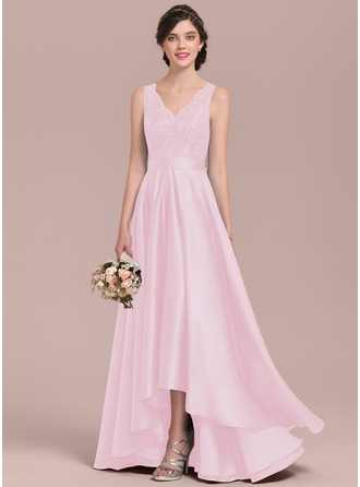 A-Line V-neck Asymmetrical Satin Lace Prom Dresses