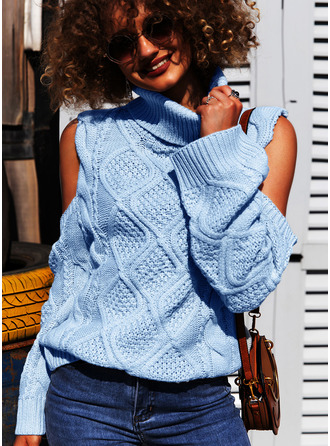 Cold Shoulder Turtleneck Casual Solid Cable-knit Sweaters