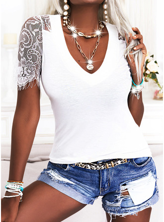 Lace Solid V-Neck 1/2 Sleeves Sexy Blouses