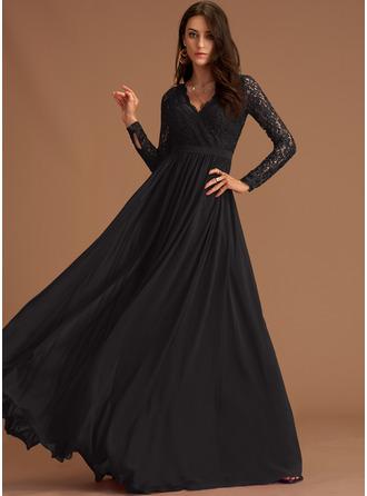 Lace V-Neck Long Sleeves Maxi Dresses