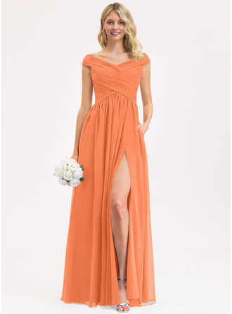 A-Line Off-the-Shoulder Floor-Length Chiffon Evening Dress With Ruffle Split Front Pockets