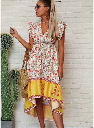 Floral Print Shift Cap Sleeve Asymmetrical Boho Casual Vacation Dresses