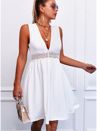 Lace Solid Hollow-out A-line Sleeveless Mini Casual Skater Dresses