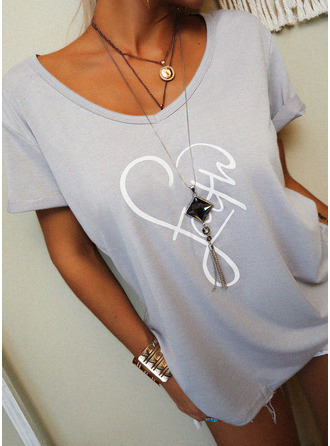 Figure Print Heart V-Neck Short Sleeves Casual T-shirt