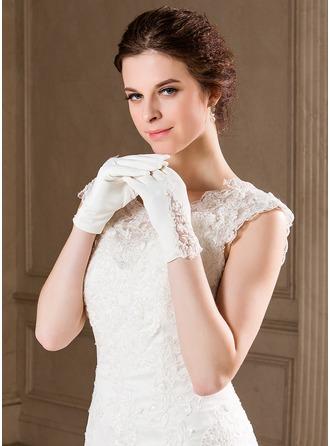 Elastic Satin Wrist Length Bridal Gloves