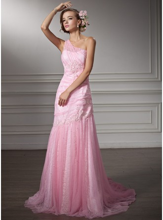 Trumpet/Mermaid One-Shoulder Chapel Train Tulle Lace Wedding Dress With Ruffle Beading Appliques Lace