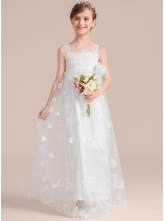 A-Line/Princess Square Neckline Floor-Length Tulle Lace Junior Bridesmaid Dress With Flower(s)
