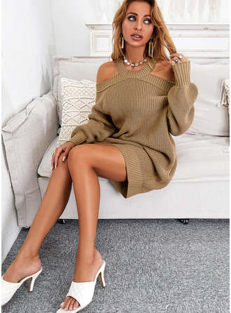 Solid Long Sleeves Casual Sweater Dress Dresses