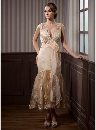 Trumpet/Mermaid V-neck Tea-Length Satin Lace Wedding Dress With Sash Beading Appliques Lace Flower(s)