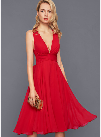 V-Neck Red Chiffon Dresses