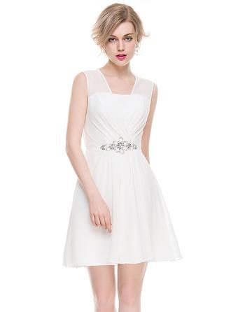 Vestidos princesa/ Formato A Decote V Curto/Mini Tecido de seda Vestido de cocktail com Pregueado Beading lantejoulas