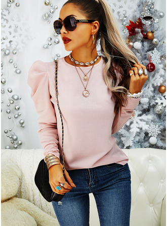 Solid Round Neck Long Sleeves Puff Sleeves Elegant Blouses
