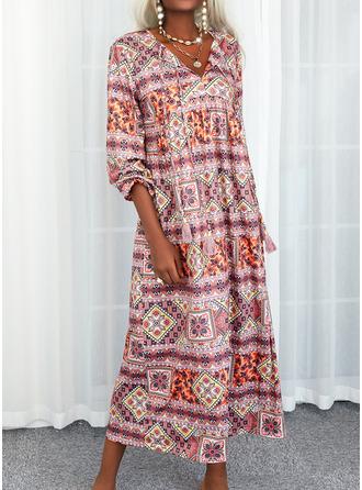 Print Shift Long Sleeves Maxi Boho Casual Dresses