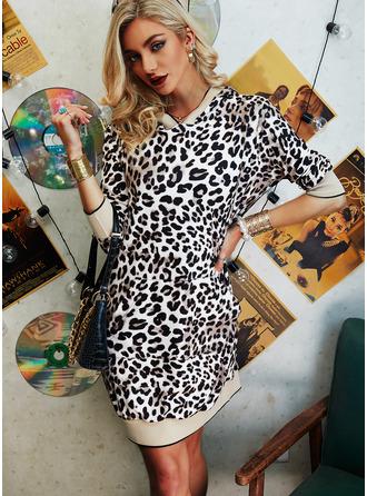 Leopardo Bainha Manga 3/4 Mini Casual Vestidos na Moda