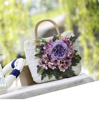 Bridesmaid Gifts - Eye-catching Charmeuse Silk Straw Handbag