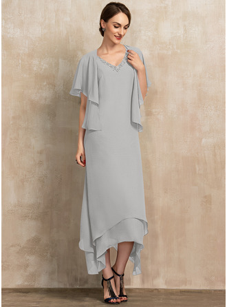 A-Linie V-Ausschnitt Knöchellang Chiffon Kleid für die Brautmutter mit Perlstickerei