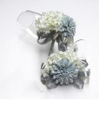Nydelig Bånd/Kunstig Silke Blomstersett (sett av 2) - Håndledd Corsage/Boutonnie
