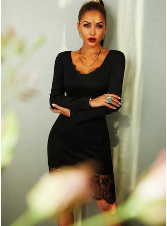 Dentelle Couleur Unie Moulante Manches Longues Midi Petites Robes Noires Fête Élégante Crayon Robes tendance