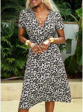Leopard Sheath Short Sleeves Midi Casual Dresses