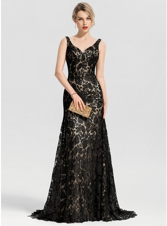 Trumpet/Mermaid V-neck Sweep Train Lace Evening Dress