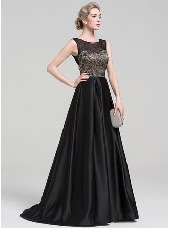 Ball-Gown Scoop Neck Sweep Train Satin Evening Dress With Beading Sequins