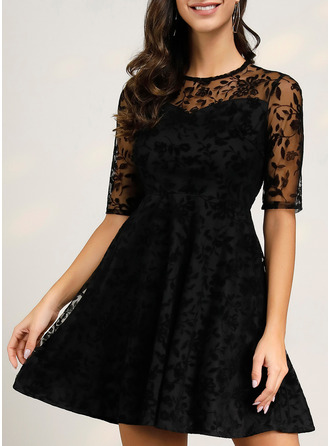 Lace A-line 1/2 Sleeves Midi Party Dresses